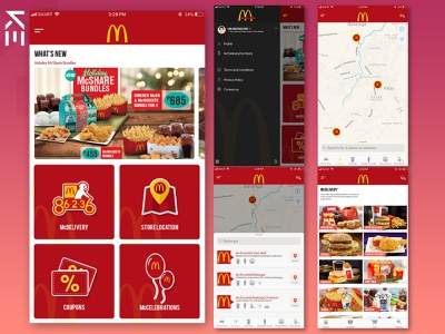 Revamped Total Look of Mcdonald's iOS App mobile app design mobile ui restaurant ios app branding ui design ui app store application ios mcdonalds illustration photoshop