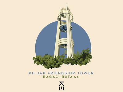 Philippine-Japanese Friendship Tower bataan bagac vexel vectorart japanese japan philippines friendship tower tower shapes illustration