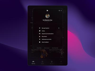 Google Play Store Menu Redesign glass glassmorphism play store app design android menu ui design ui philippines
