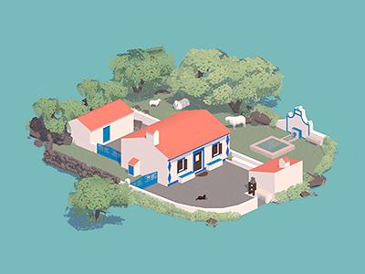 Portuguese Country House simple house farm isometric cinema 4d 3d