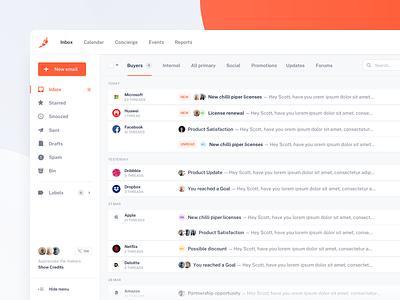 Chili Piper — Inbox nowakowski sketch email listings web orange minimal clean product ux ui tonik design inbox sales dashboard