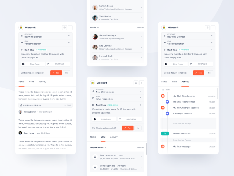 Chili Piper — CRM Data activity notes dashboard sales inbox design tonik ui ux product clean minimal crm sidebar web email sketch