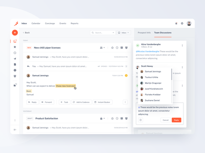 Chili Piper — Team Discussion minimal dashboard sales inbox design tonik ui ux product clean orange web discussion comments email sketch
