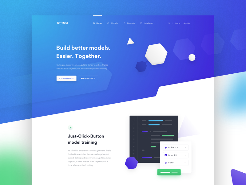 💫 TinyMind — preview website web ux ui purple blue layout landing page homepage hero header clean