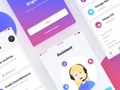 Financial Assistant part II 💸 ux ui mobile iphone ios gradient financial assistant application app