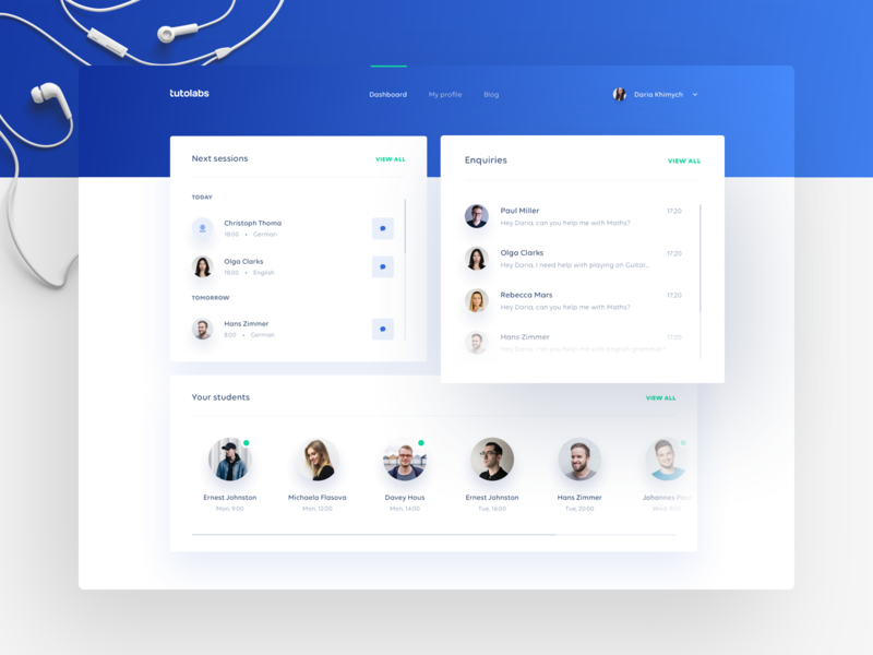 Tutolabs Dashboard interface minimal layout web cards tutoring learning green ux ui dashboard gradient clean blue