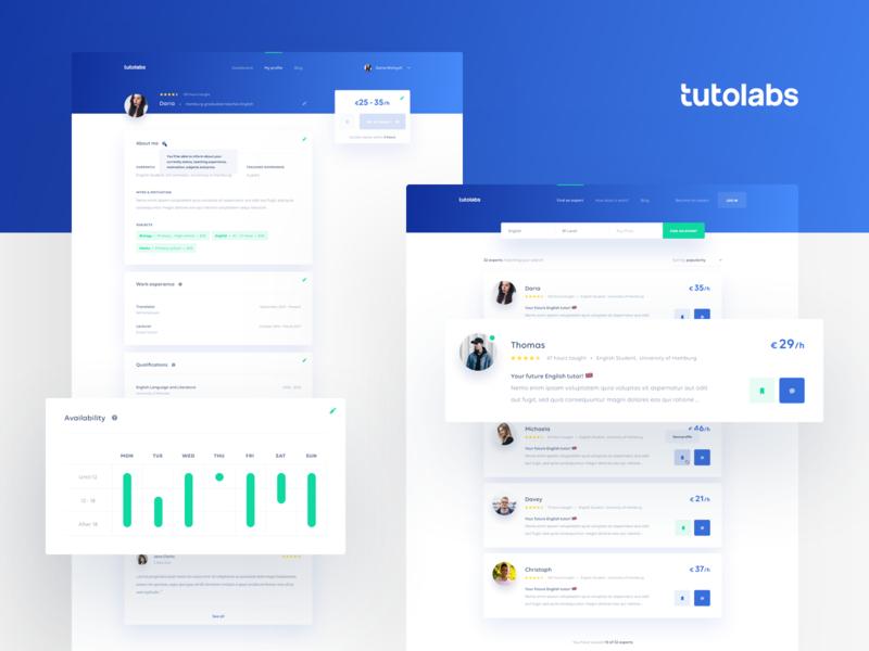 Tutolabs Tutor List & Profile cards interface green learning tutoring minimal gradient blue clean ux ui web