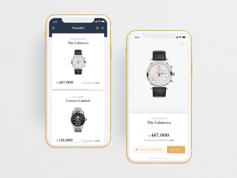 WatchBid - Reversed Order Auction App ⌚️ iphonex design auction watches cards interface application ios mobile minimal clean ux ui