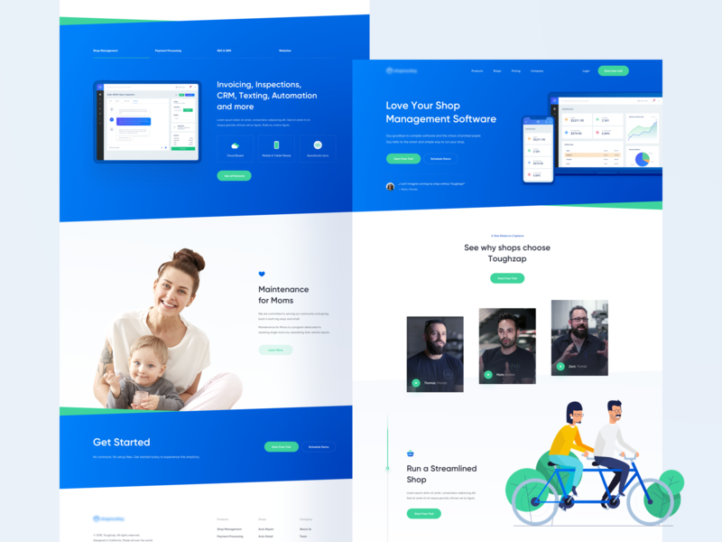 Shop Management App 🛒 - Landing Page green website gradient illustration layout web ux ui landing page clean blue