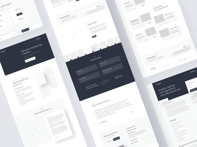 Bradfield — Wireframe 👨🏼‍💻 computer science design minimal clean layouts website web ux wireframe layout landing page homepage university school