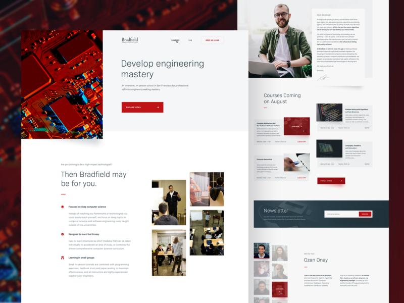 Bradfield — Landing page homepage design university school landing page ui ux web minimal website computer science clean