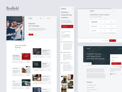Bradfield — Subpages mobile design university school computer science subpage website minimal clean ux ui web