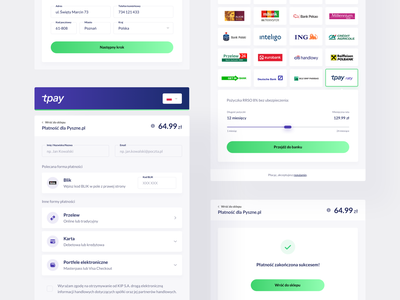 tpay — Transaction Panel 💳 fintech process finance interface website blue gradient payment transaction minimal web clean ui ux