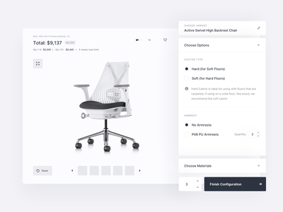 Mimeeq - Product configurator wireframes interface design layout simple minimal clean configurator furniture product design product startup tonik web ux ui wireframes