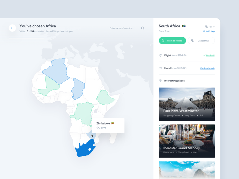 Travel Planner — preview 🌎 weather country hotel flight ui africa trip book product design map travel planner dashboard app tonik