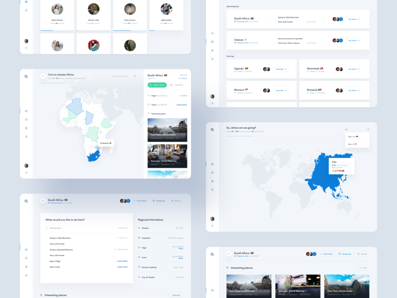 Travel Planner — dashboard 🌎 ux blue clean minimal country hotel flight ui tooltip web africa product design map travel planner dashboard app tonik