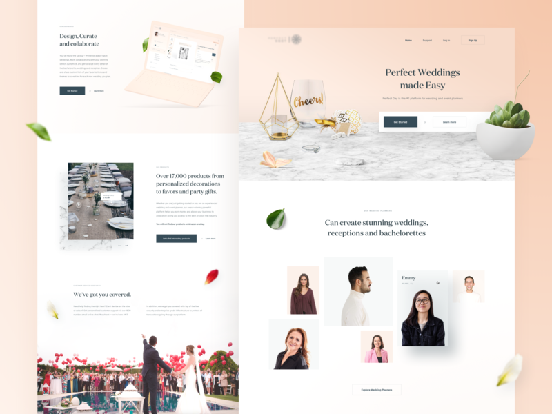 Wedding Planner — Landing page 💒 nowakowski tonik design bachelorette reception leafs clean planner wedding layout homepage minimal website web ux ui landing page