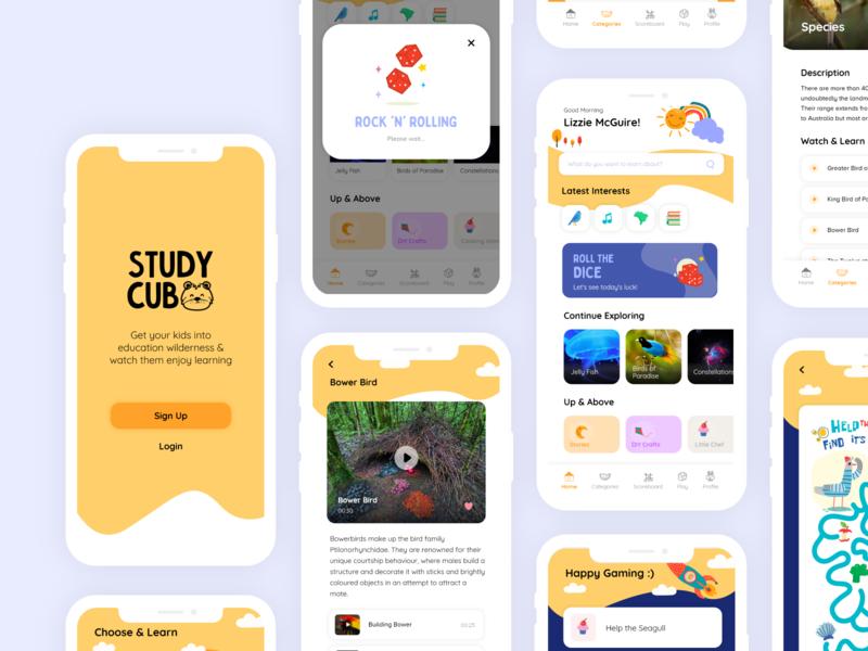 Pocket Learning App for Kids design cute illustration mobileapplication application learning is fun facts app encyclopedia games science app childrens app uidesign ux uiux ui mobile app app design
