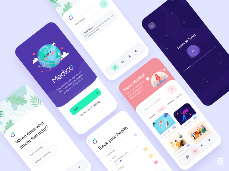 Self Care and Meditation App ui application app mobile app design mobile app uidesign uiux cute minimal medical assistance medical app personal care self care meditation self care app meditation app
