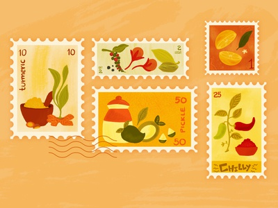Spices Stamp Collection philately stamp illustration indian spices spice illustration spice stamps spices indian stamps stamp design stamp collection stamp design cute illustration