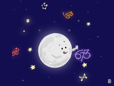 Shining & Shimmering nightsky sky numbers shimmer shine glow galaxy constellations moon night star cute illustration