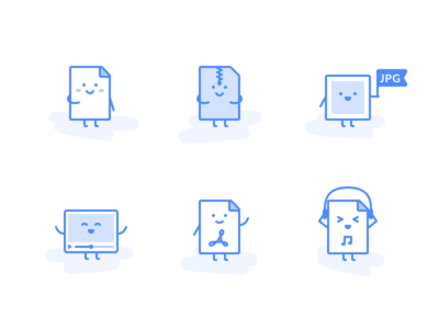 Icons for different file types outline app ui illustration audio pdf video image document file icon