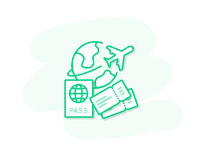 Travel documents outline plane passport ticket travel document file icon
