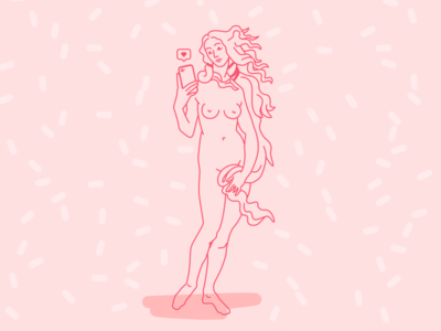 Venus botticelli outline message iphone illustration