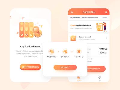 Loan interface mobile ui money app icon banner ux design simple illustration app clean ui