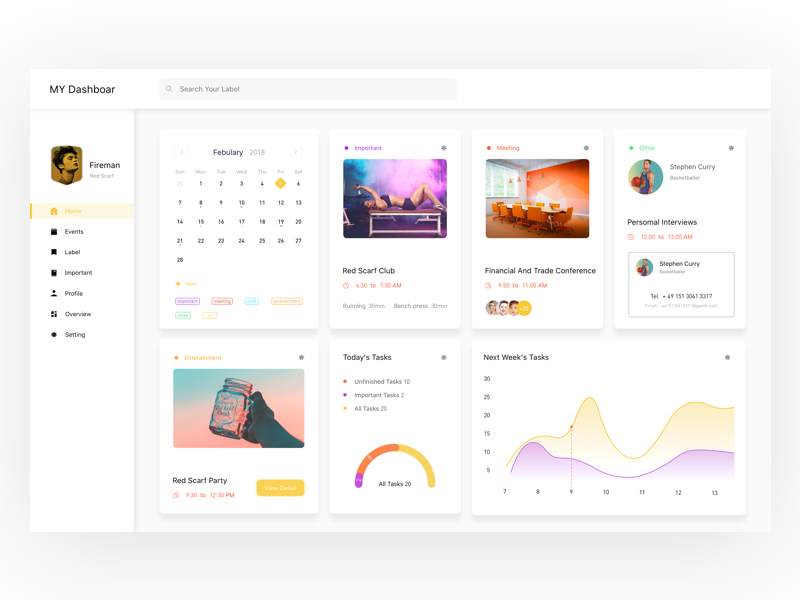 Personal Calendar Dashboard. curve scheduling dashboard calendar business