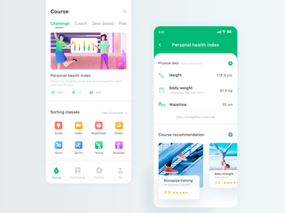 Fitness class list activity page personal body data sports fitness course recommendation icon design banner illustration clean app ui