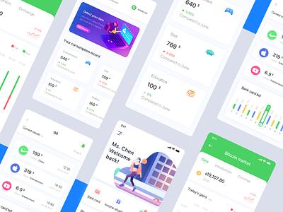 Penagihan pribadi dan aplikasi keuangan billboard simple banner data illustration app clean ui