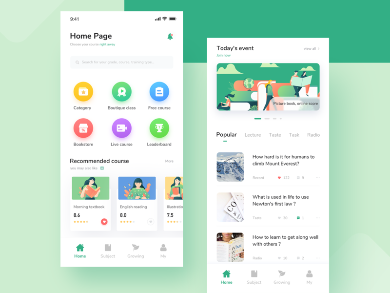 Junior high school education homepage mobile app illustration icon simple design clean ui education app education homepage design homepage