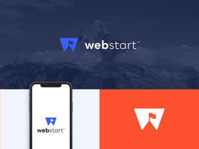 Webstart branding digital agency seo letter w flag logo flag logo branding design brand identity brand design brand