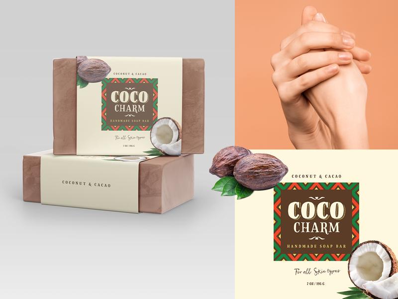 Coco Charm Soap Label dribbbleweeklywarmup weekly challenge weekly warm-up weeklywarmup weekly logo design label soap label soapbox soap