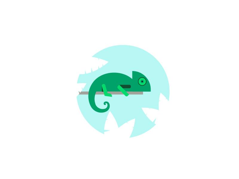 Chameleon minimal illustration animal illustration rainforest animal jungle clean simple chameleon
