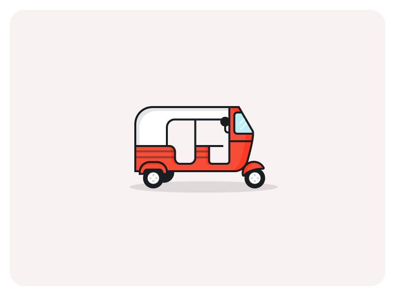 Tuc Tuc minimal illustration flat illustration tuctuc minimal transportation transport icon taxi
