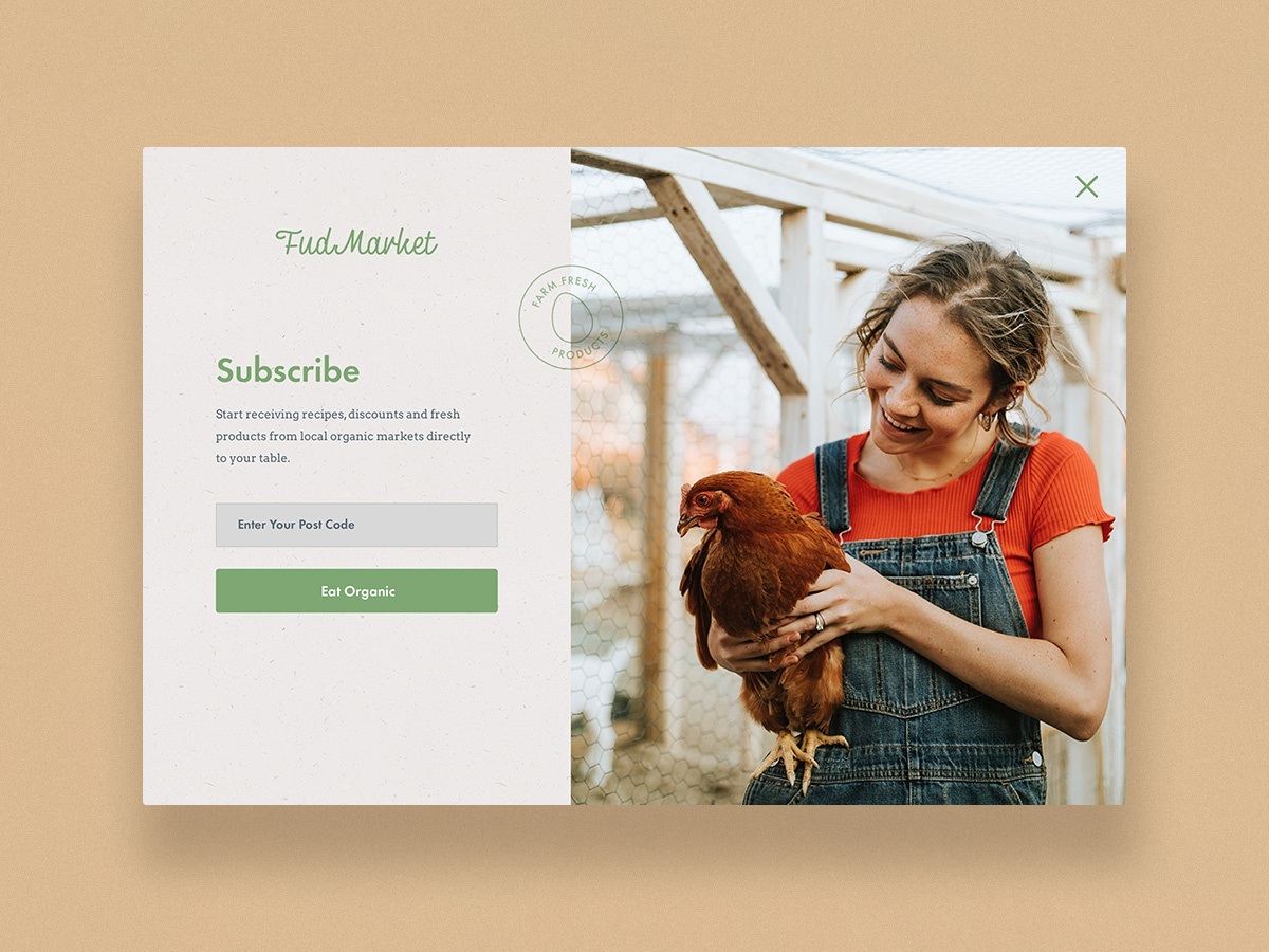 UI Challenge 026  Subscribe food food app farm animal farm fresh farm organic ui challange uipractice uidesign sign in page sign design sign splash screen subcribe