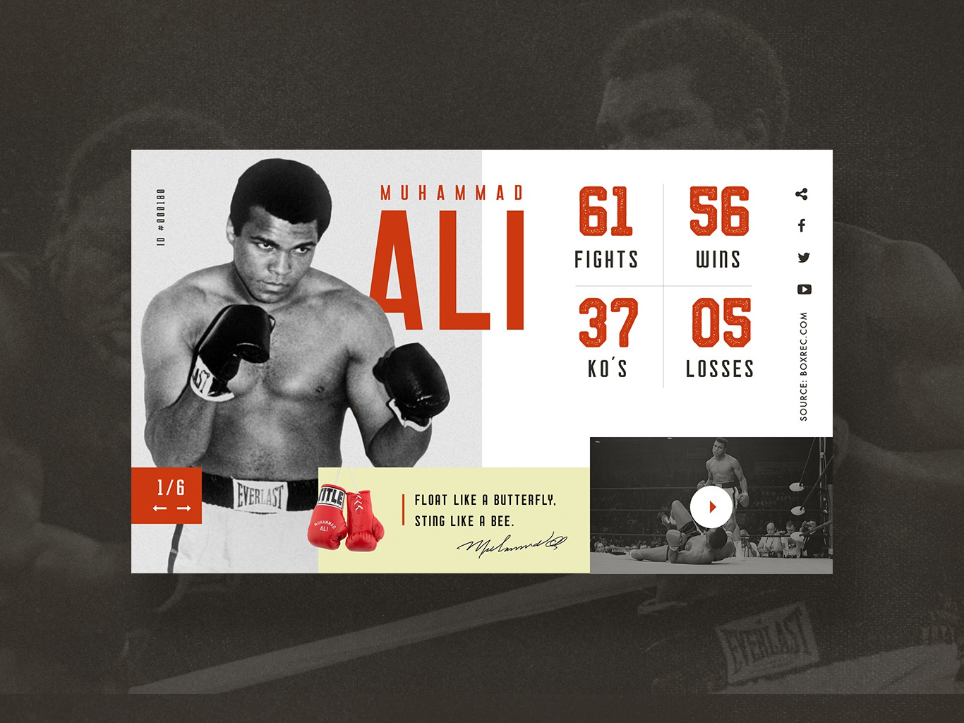 UI Challenge 045 Info Card sport app sport ali muhammad ali boxer statistics info info card