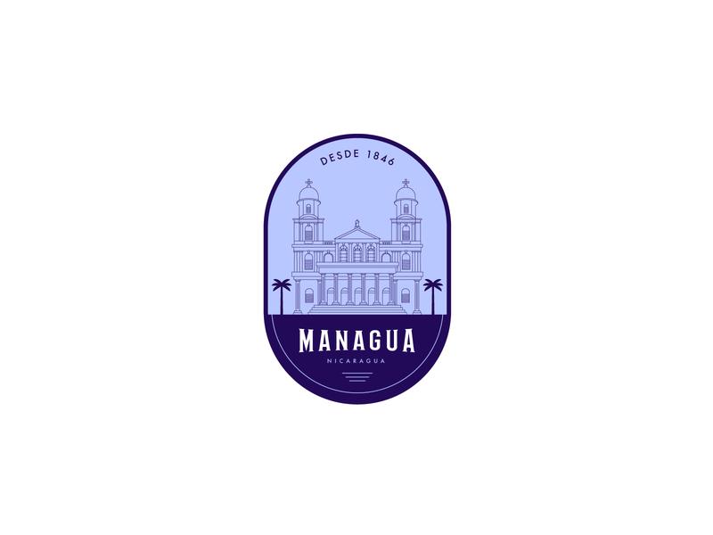 Managua Sticker dribbbleweeklywarmup building lineart illustration sticker