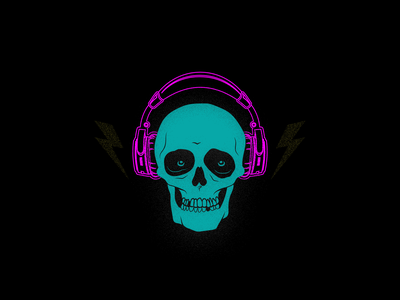 Jammin Skully 🤘 skull art headphones rock vector skull