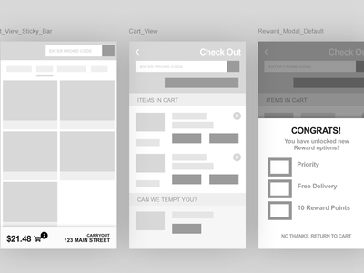 Mobile Checkout Wireframe Flow