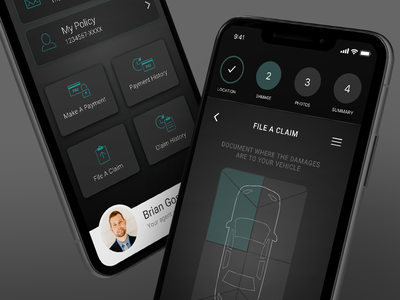 Auto Insurance File A Claim - Darker Concept mobile app iphone x calculator dashboard ui ux auto insurance auto insurance