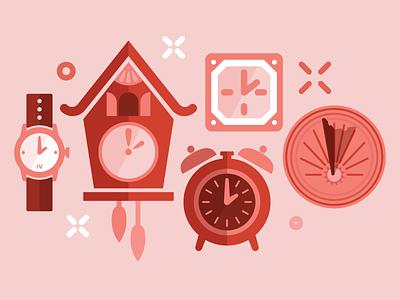 Clocks save time time sundial watch alarm clock cuckoo clock clocks red social media digital illustration illustration