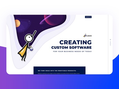 Company main page clean web  design typography parallax white clear spaceman space team agency company main page mainpage illustration vector ui