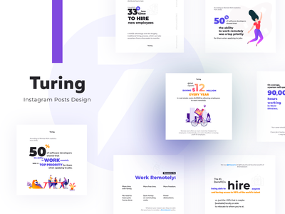 Stylish and Clean social media designs for Turing inspiration branding vector illustration clean inspiraldesign ui designinspiration design instagram template instagram post instagram