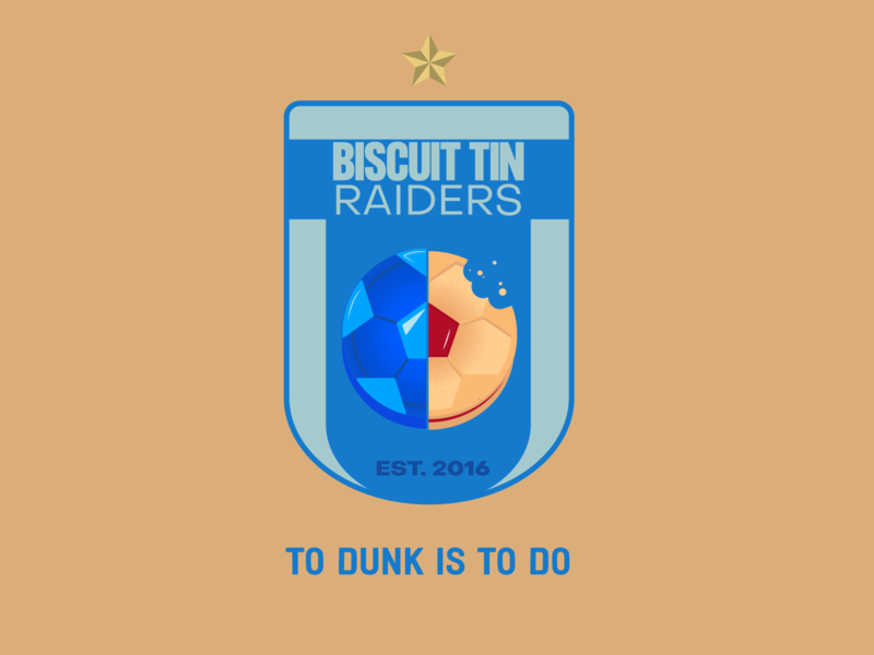 Biscuit Tin Raiders F.C. biscuit sports logos sports team custard cream jammie dodger football badge soccer football logo badge vector illustration design