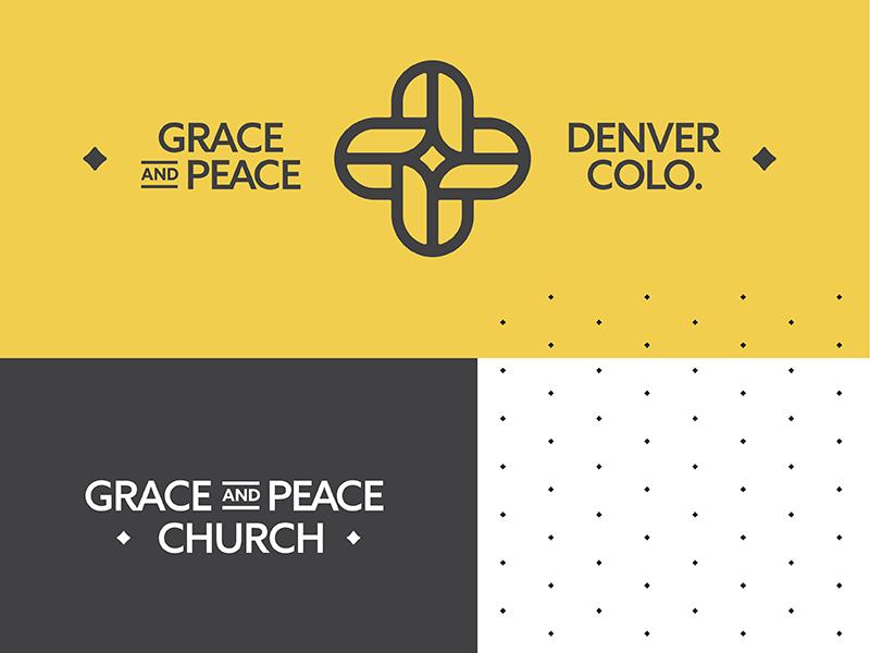 Grace Peace Identity logo design system yellow denver peace grace church woven cross identity pattern logo