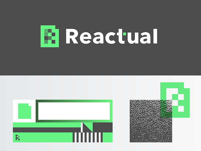 Reactual Concept tech texture grid system logo identity brand