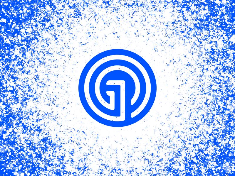 On rotation brand g blue spin ripple symbol identity mark logo monogram